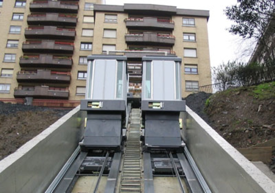 Inclined lifts in Bilbao, Spain