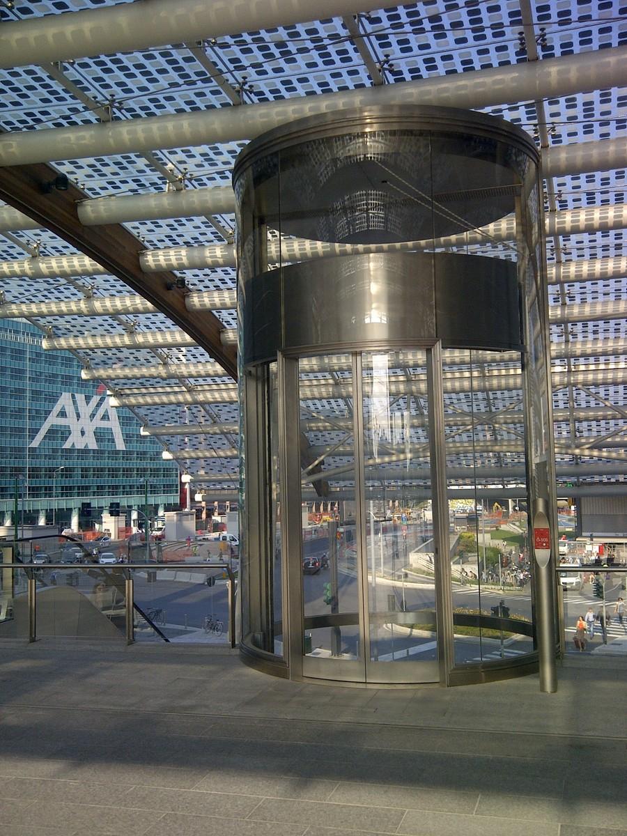 Round Glass Elevator in Milan, Piazza Gae Aulenti